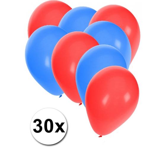 30x ballonnen - 27 cm - rood - blauwe versiering
