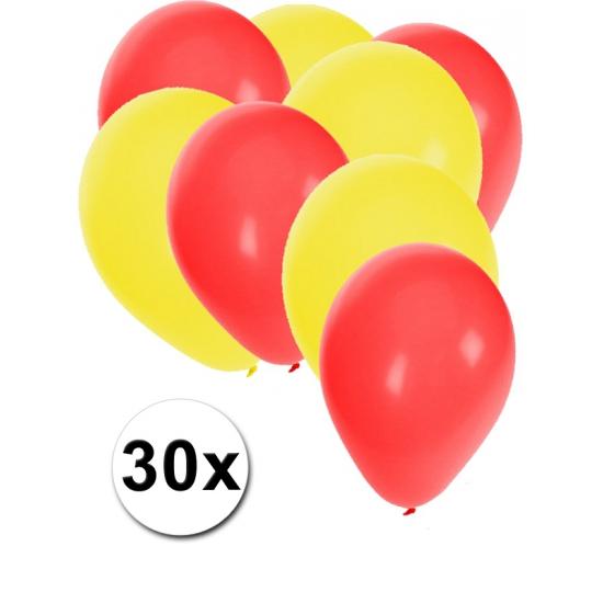 30x ballonnen - 27 cm - rood en gele versiering
