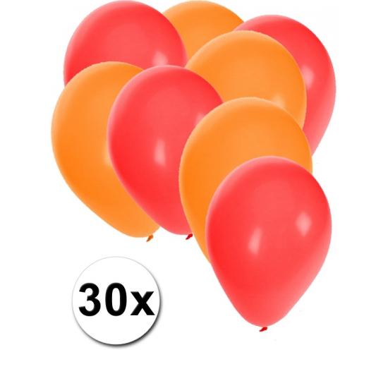 30x ballonnen - 27 cm - rood - oranje versiering