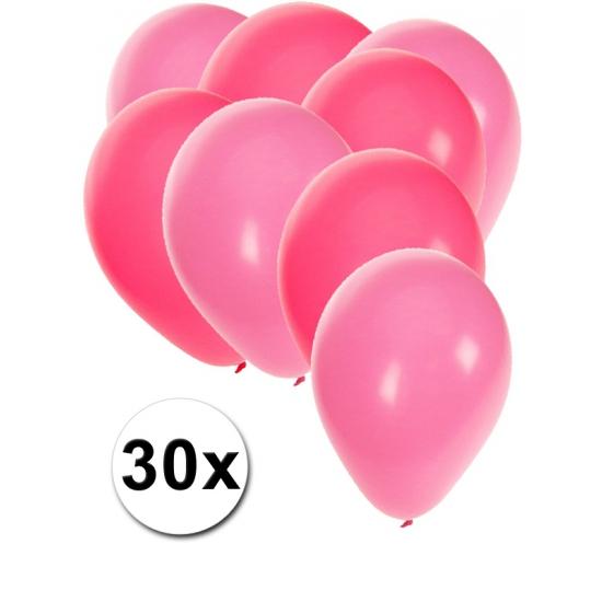30x ballonnen - 27 cm - roze - lichtroze versiering