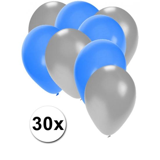 30x ballonnen 27 cm - zilver - blauwe versiering