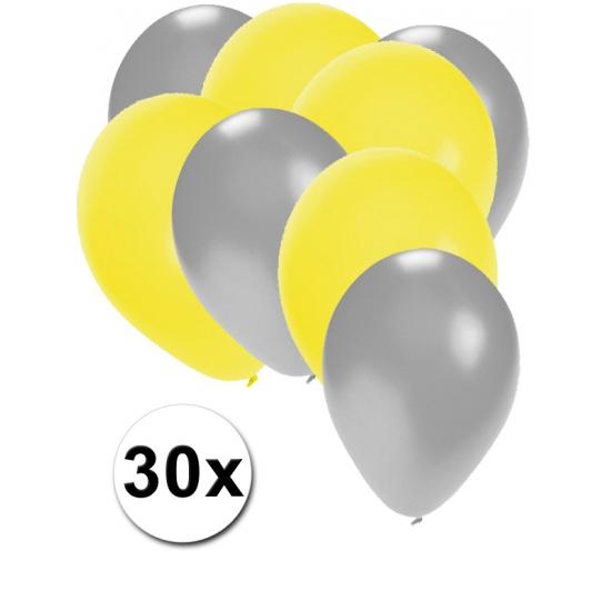 30x ballonnen 27 cm - zilver - gele versiering