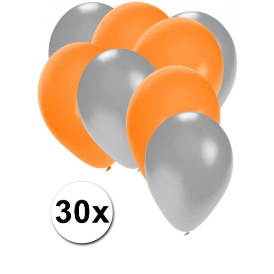 30x ballonnen - 27 cm - zilver - oranje versiering