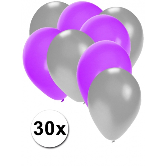 30x ballonnen 27 cm - zilver - paarseversiering