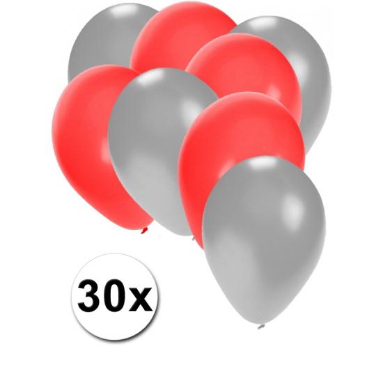 30x ballonnen - 27 cm zilver - rode versiering