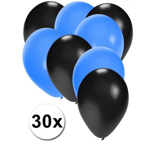 30x ballonnen - 27 cm - zwart - blauwe versiering