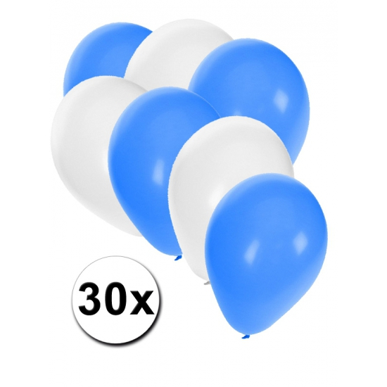 30x Ballonnen blauw en wit