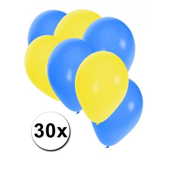 30x Ballonnen geel en blauw