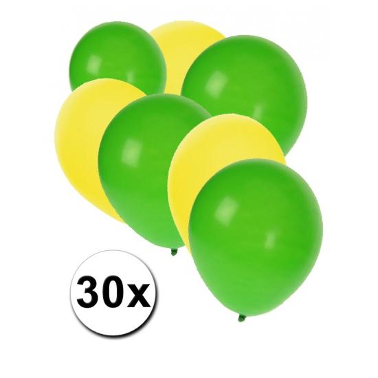 30x Ballonnen geel en groen