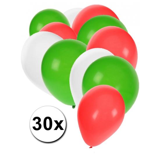 30x ballonnen groen wit rood