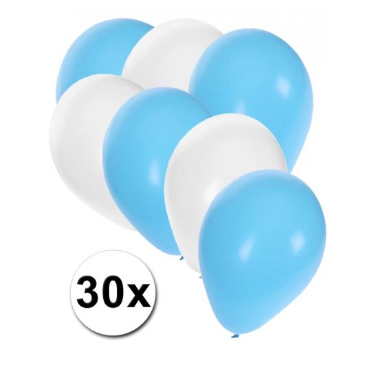 30x ballonnen lichtblauw en wit