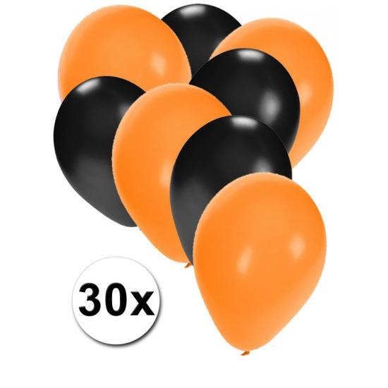 30x ballonnen oranje en zwart