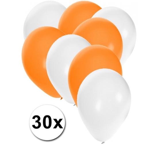30x ballonnen wit en oranje