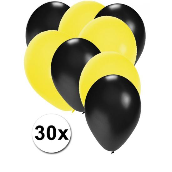 30x ballonnen zwart en geel
