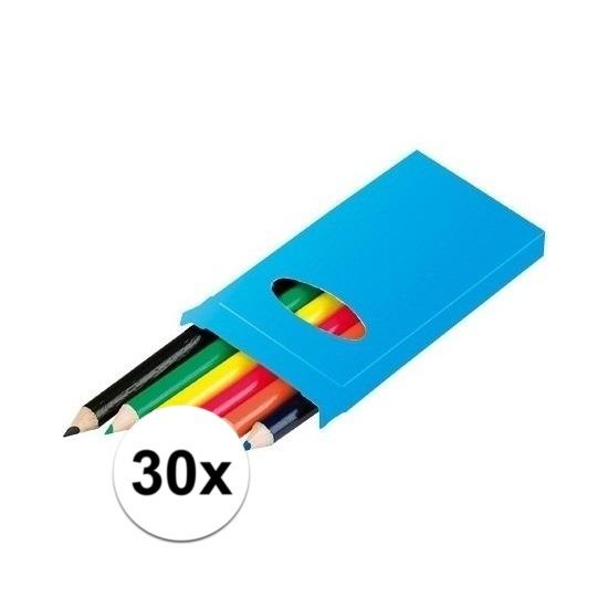 30x Doosjes kleurpotloden met 6 potloden