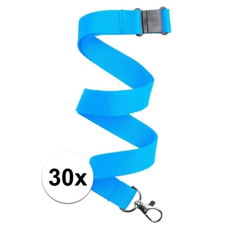 30x Keycord/lanyard licht blauw met sleutelhanger 50 cm