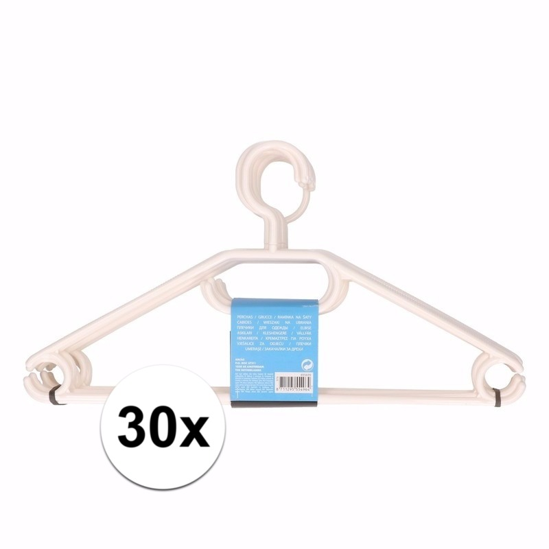 30x plastic kledinghangers wit