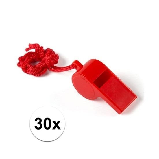 30x Rood fluitje aan koord