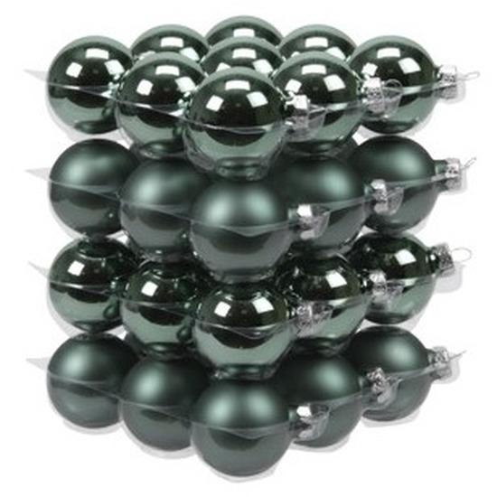 36x Emerald groene glazen kerstballen 4 cm mat-glans