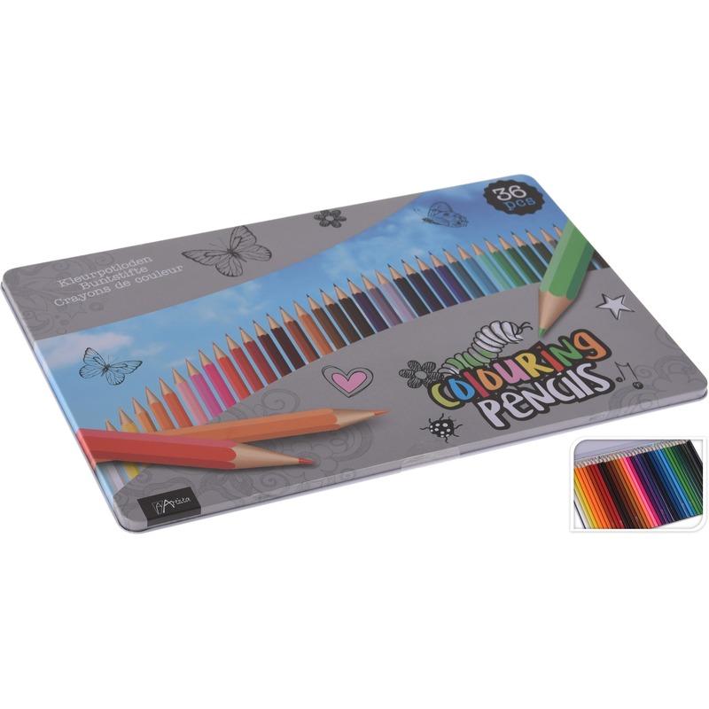 36x Kleur potloden in blik