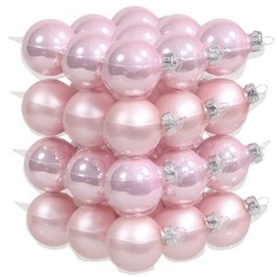 36x Roze glazen kerstballen 4 cm mat-glans