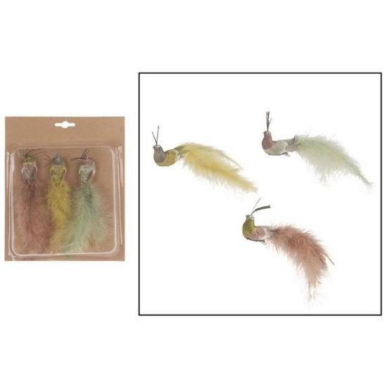 3x Decoratie vogels op clip gekleurde pauwen 19 cm