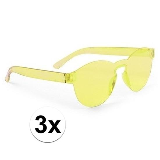3x Gele verkleed zonnebrillen voor volwassenen