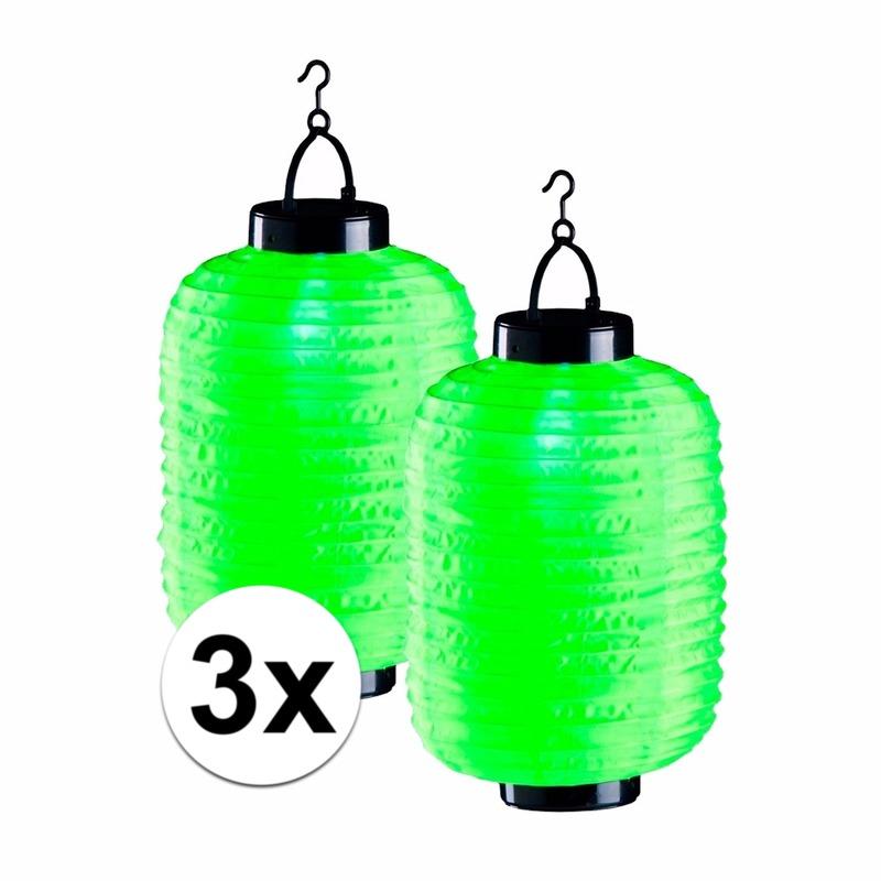3x groene solar lampionnen 35 cm