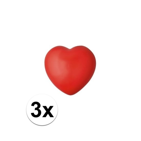 3x hartje stressbal rood 7 cm