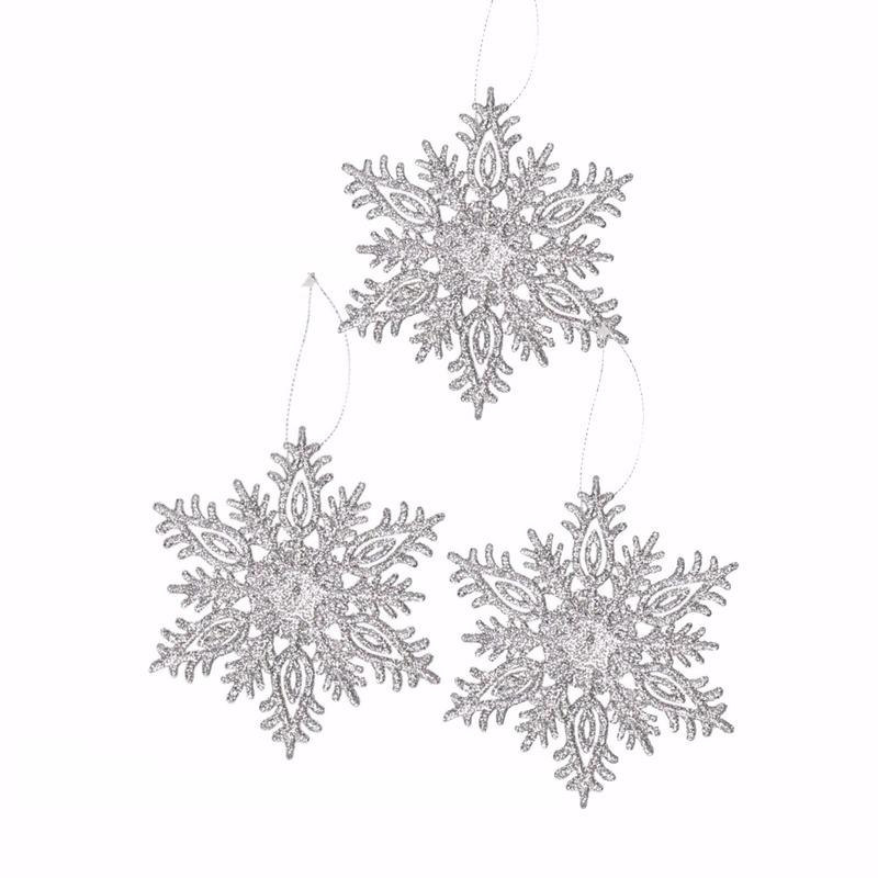3x Kersthanger sneeuwvlok zilver glitter type 3
