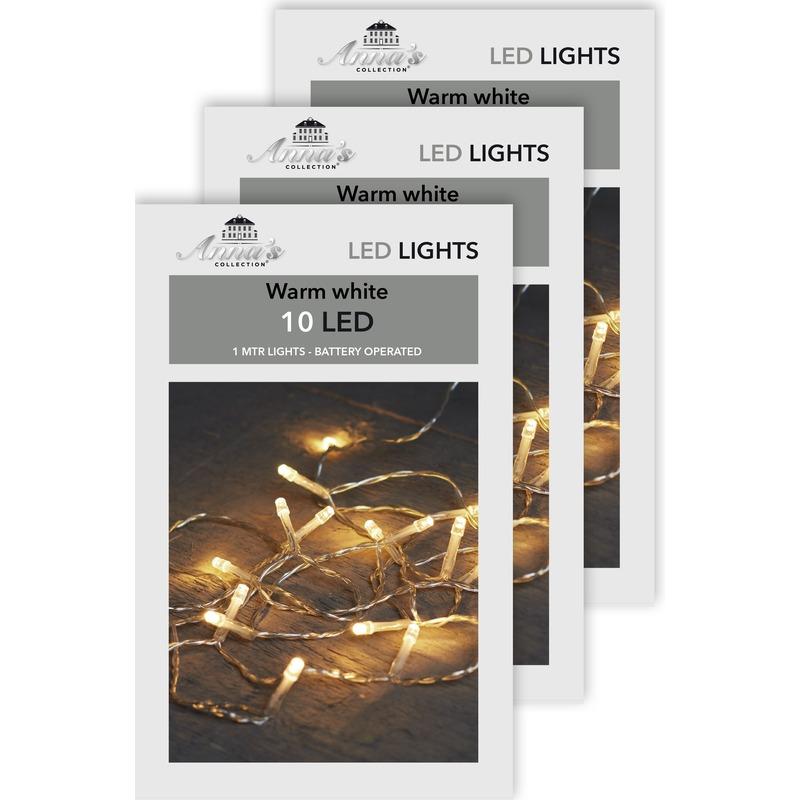 3x Kerstverlichting op batterijen warm wit 10 lampjes 100 cm