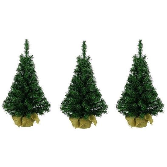 3x Kleine kerstboom in jute zak 75 cm