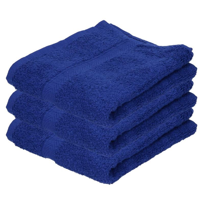 3x Luxe handdoeken blauw 50 x 90 cm 550 grams