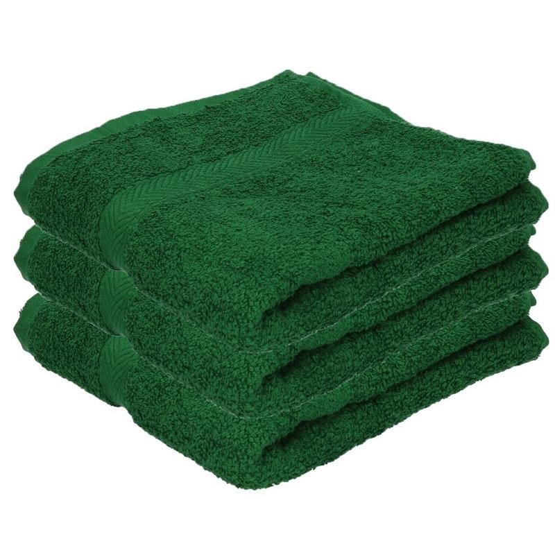 3x Luxe handdoeken donkergroen 50 x 90 cm 550 grams