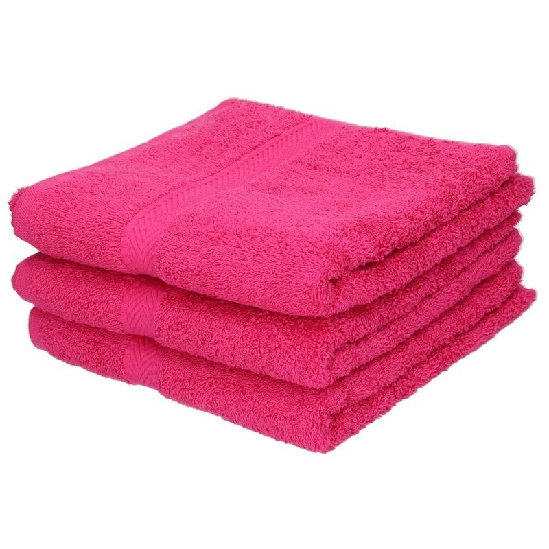 3x Luxe handdoeken fuchsia roze 50 x 90 cm 550 grams