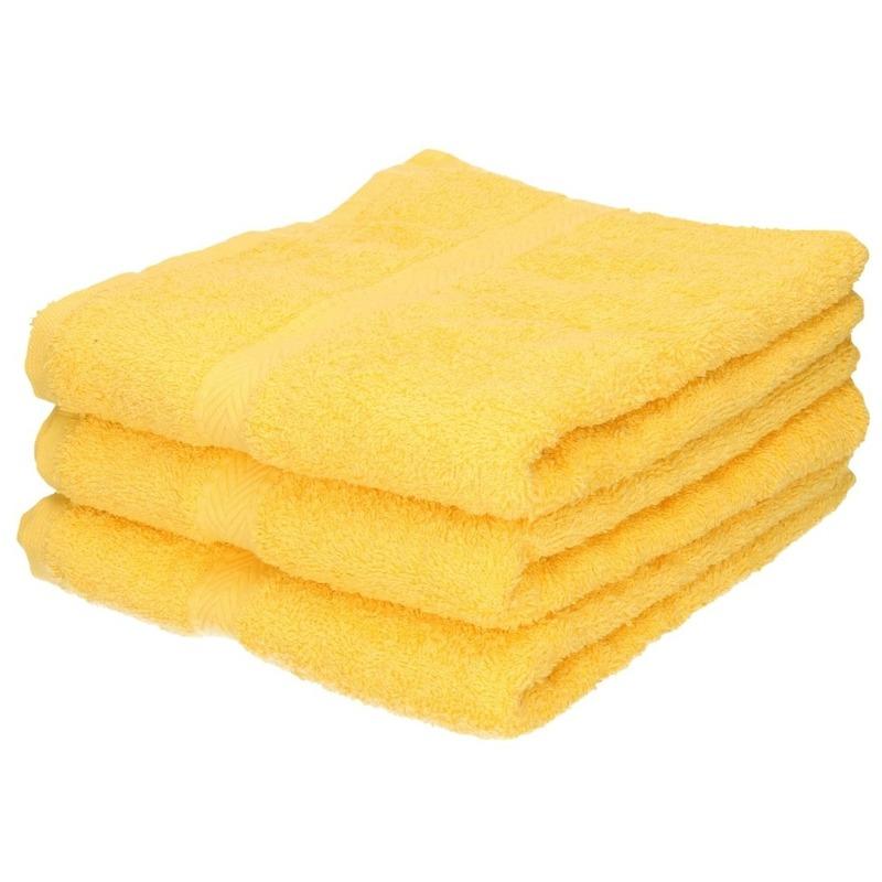 3x Luxe handdoeken geel 50 x 90 cm 550 grams