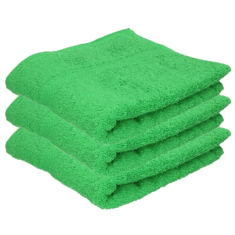 3x Luxe handdoeken groen 50 x 90 cm 550 grams