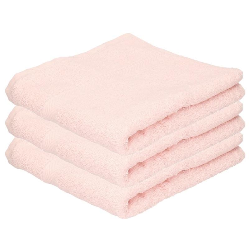 3x Luxe handdoeken licht roze 50 x 90 cm 550 grams