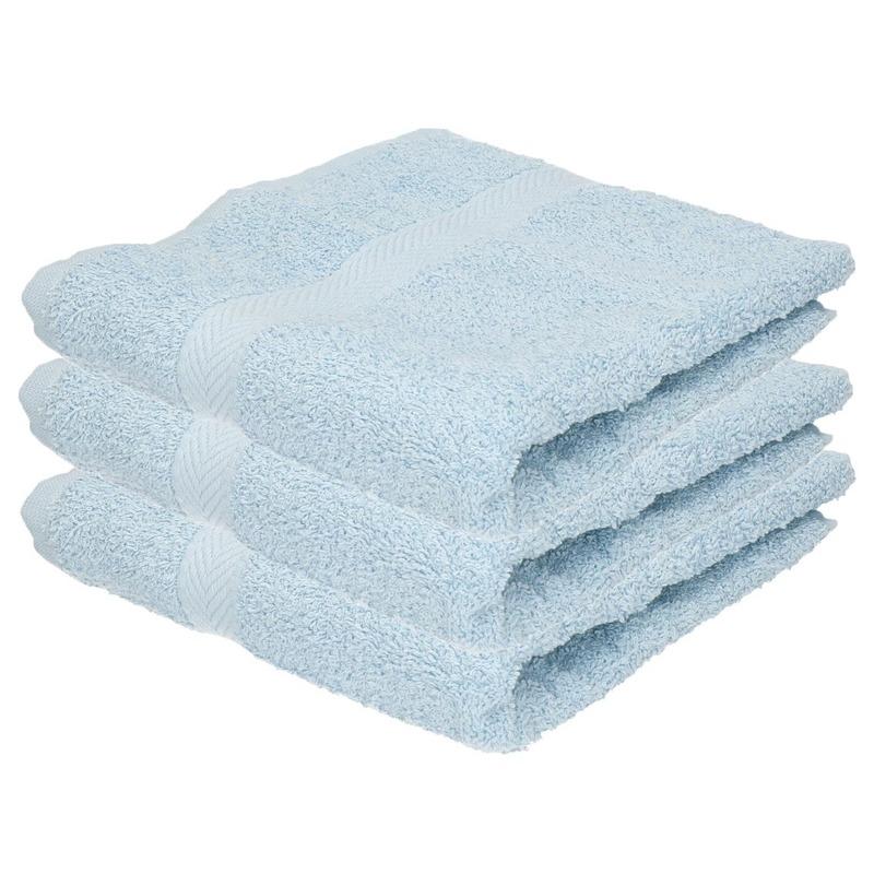 3x Luxe handdoeken lichtblauw 50 x 90 cm 550 grams