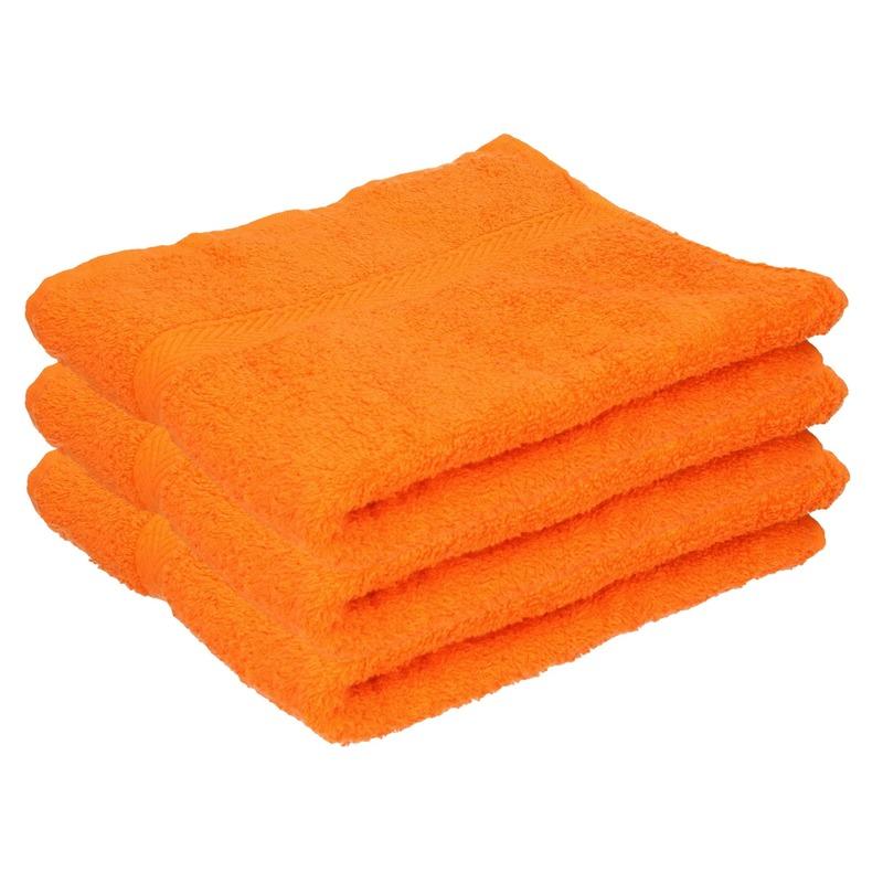 3x Luxe handdoeken oranje 50 x 90 cm 550 grams