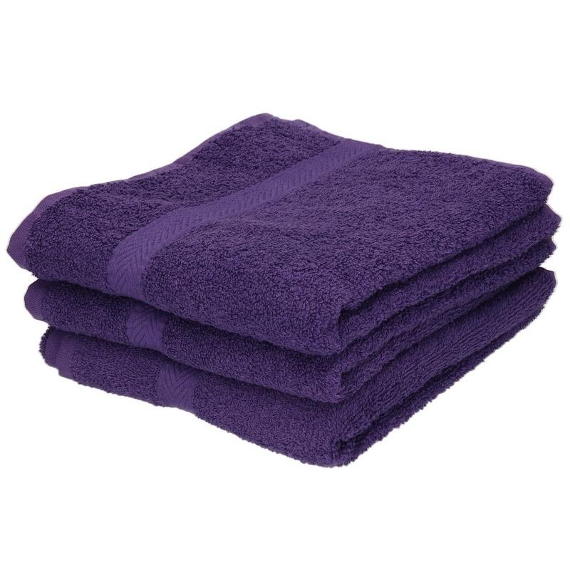 3x Luxe handdoeken paars 50 x 90 cm 550 grams