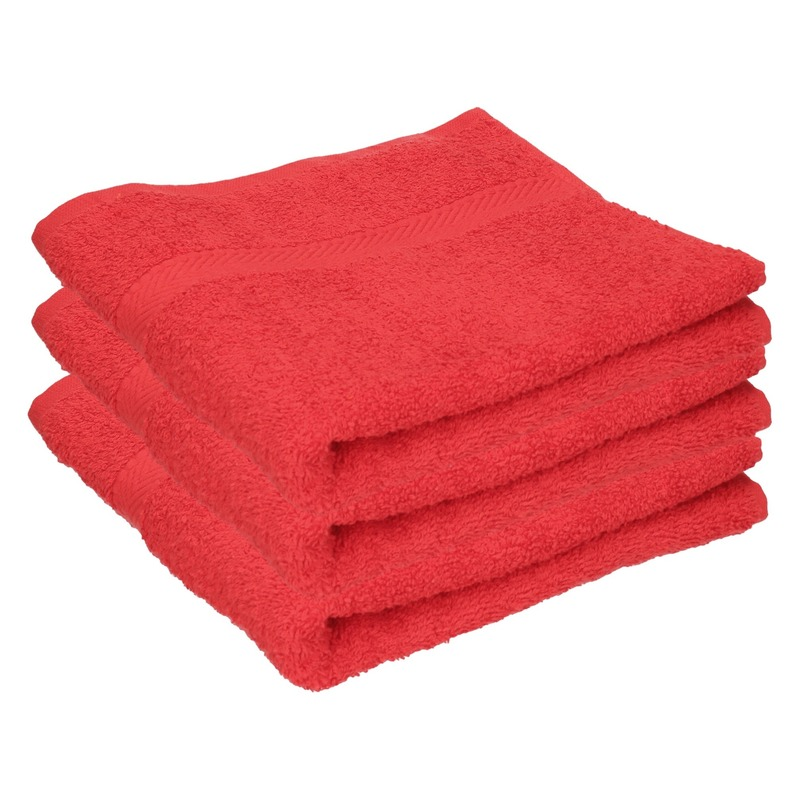 3x Luxe handdoeken rood 50 x 90 cm 550 grams