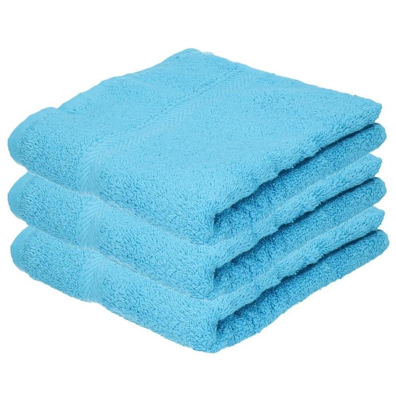 3x Luxe handdoeken turquoise 50 x 90 cm 550 grams