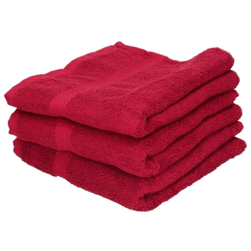 3x Luxe handdoeken wijnrood 50 x 90 cm 550 grams