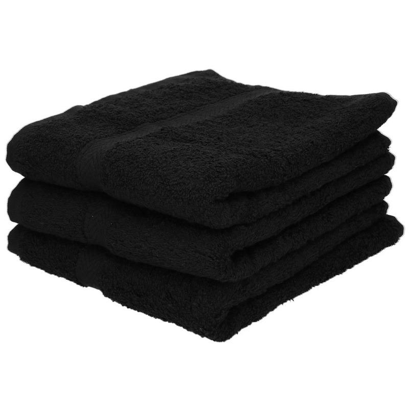 3x Luxe handdoeken zwart 50 x 90 cm 550 grams