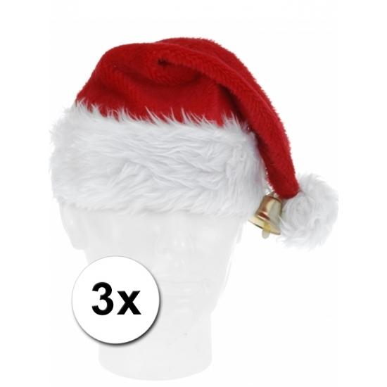 3x luxe Kerstmuts pluche met bel