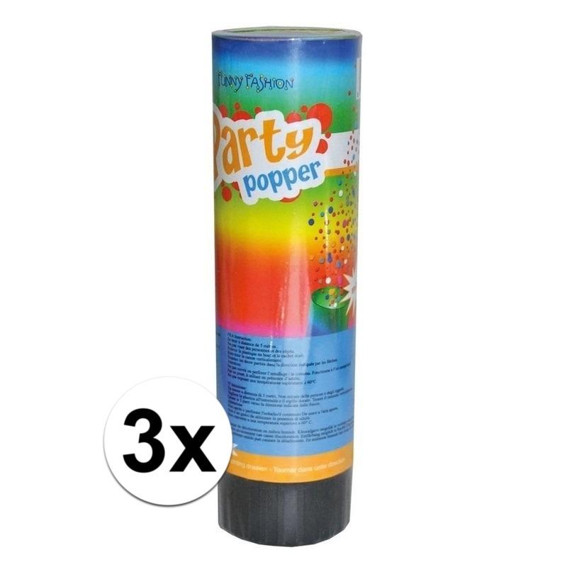 3x Party popper confetti 15 cm