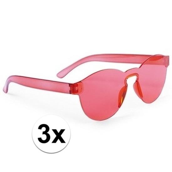 3x Rode verkleed zonnebrillen voor volwassenen