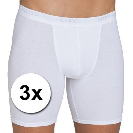 3x Sloggi basic long heren boxershort wit