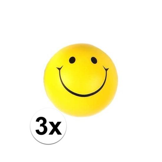 3x Smiley stressbal 6 cm